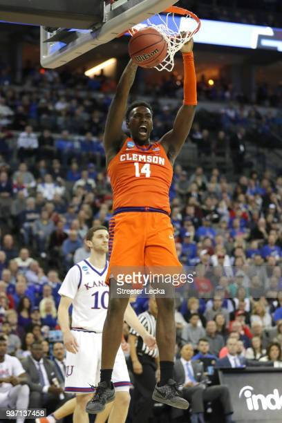 Elijah Thomas of the Clemson Tigers dunks the ball against the Kansas Jayhawks during the first half in the 2018 NCAA Men's Basketball Tournament...