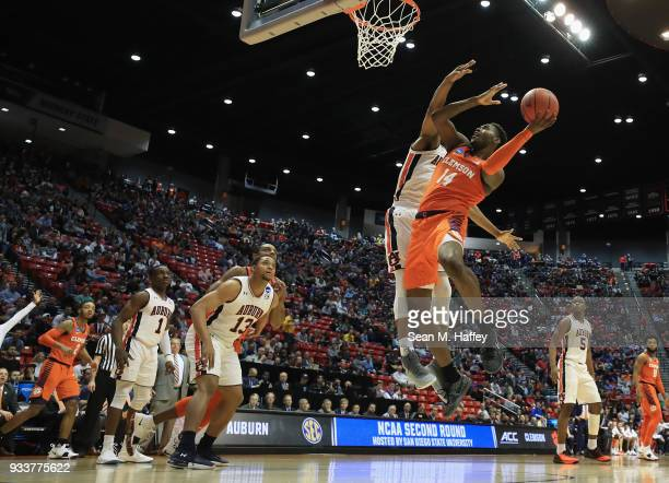 Elijah Thomas of the Clemson Tigers goes up for a shot against the Auburn Tigers in the first half during the second round of the 2018 NCAA Men's...