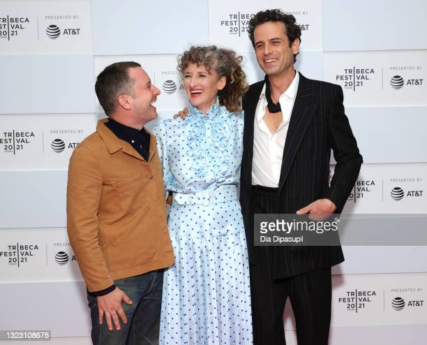 """Elijah Wood, Amber Sealey, and Luke Kirby attend 2021 Tribeca Festival Premiere of """"No Man Of God"""" at Pier 76 on June 11, 2021 in New York City."""