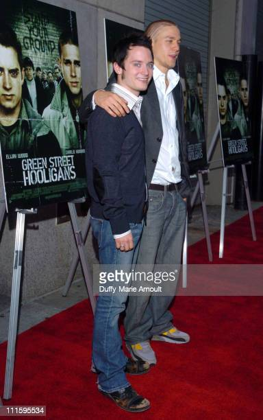 Elijah Wood and Charlie Hunnam during 'Green Street Hooligans' New York Premiere at Union Square Stadium 14 in New York City New York United States