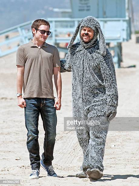 Elijah Wood and Jason Gann are seen on the set of 'Wilfred' on March 28 2011 in Los Angeles California