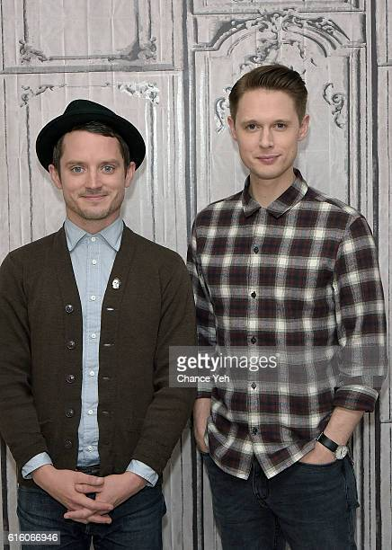 Elijah Wood and Sam Barnett attend The Build Series to discuss Dirk Gently's Holistic Detective Agency at AOL HQ on October 21 2016 in New York City