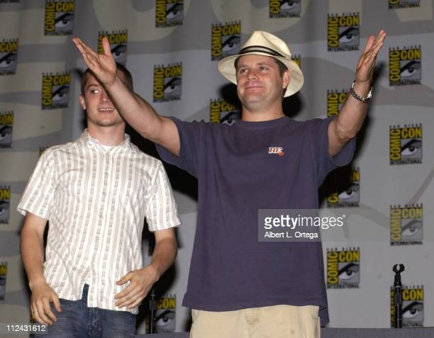 Elijah Wood and Sean Astin during 2003 San Diego Comic Con International Day Three at The San Diego Convention Center in San Diego California United...