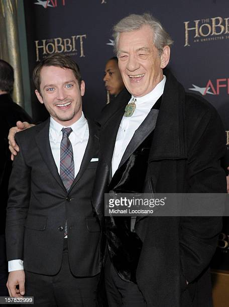 "Elijah Wood and Sir Ian McKellen attend ""The Hobbit: An Unexpected Journey"" New York premiere benefiting AFI at Ziegfeld Theater on December 6, 2012..."