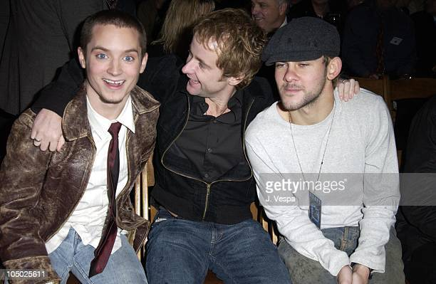 Elijah Wood Billy Boyd and Dominic Monaghan during The Launch of the Air New Zealand/Lord of the Rings Frodo Airplane at LAX in Los Angeles...