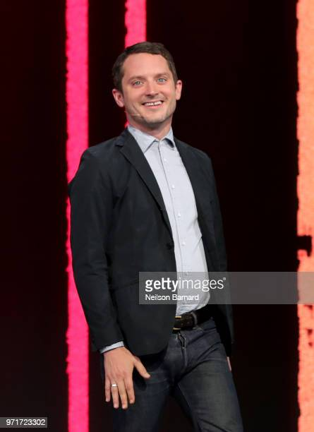 Elijah Wood creative director of SpectreVision speaks onstage during the Ubisoft E3 conference at Orpheum Theatre on June 11 2018 in Los Angeles...