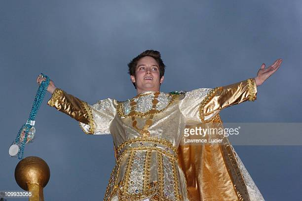 Elijah Wood during Elijah Wood leads Bacchus Parade at Mardi Gras at Uptown in New Orleans Louisiana United States