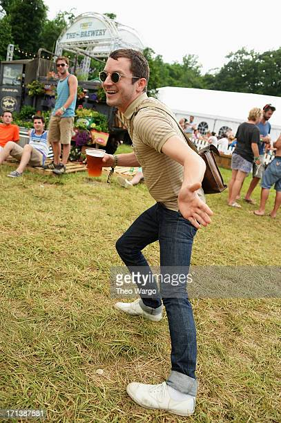 Elijah Wood hangs out at The Brewery at the Firefly Music Festival at The Woodlands of Dover International Speedway on June 23, 2013 in Dover,...