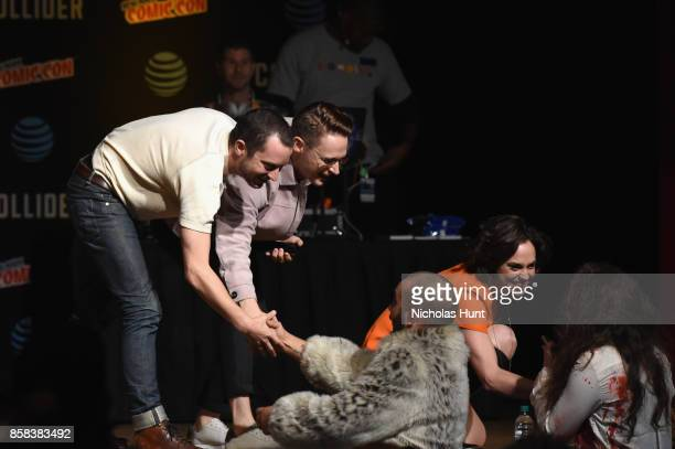 Elijah Wood Samuel Barnett and Fiona Dourif greet fans during the Dirk Gently's Holistic Detective Agency BBC AMERICA Official Panel during 2017 New...