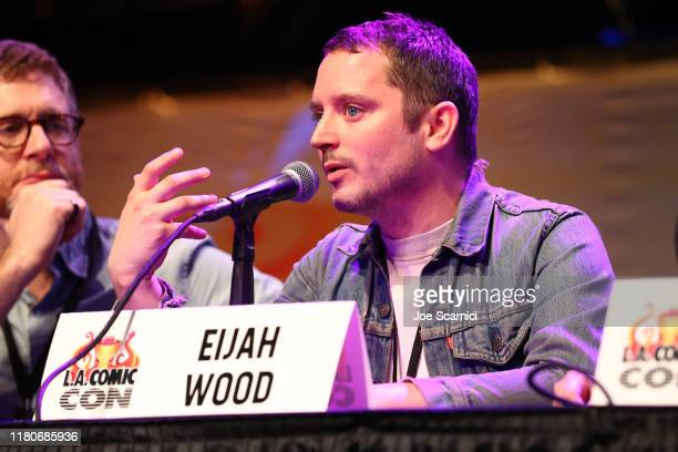Elijah Wood speaks onstage during the Through a Genre Lens - Horror Cinema in the New Era & The Films of SpectreVision panel at 2019 Los Angeles...