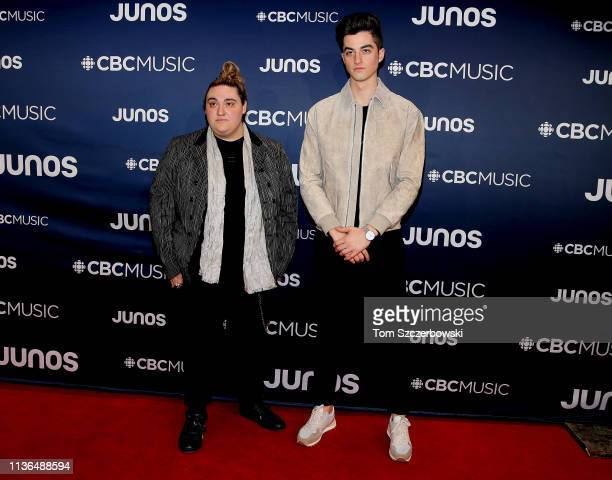 Elijah Woods and Jamie Fine attend the 2019 Juno Awards Arrivals at Budweiser Gardens on March 17 2019 in London Canada