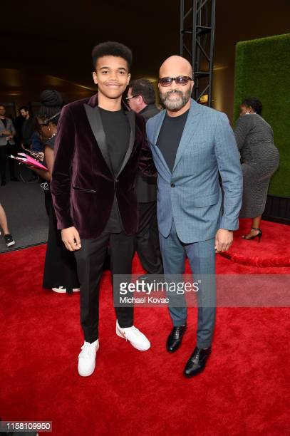 Elijah Wright and Jeffrey Wright attend the 2019 NBA Awards presented by Kia on TNT at Barker Hangar on June 24 2019 in Santa Monica California