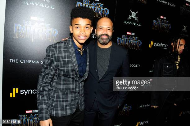 Elijah Wright and Jeffrey Wright attend The Cinema Society with Ravage Wines Synchrony host a screening of Marvel Studios' Black Panther at The...