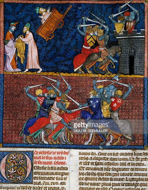 Elijah's chariot ascending to heaven fighting between knights miniature from the Guyard des Moulins Bible folio 206 recto France 13th century