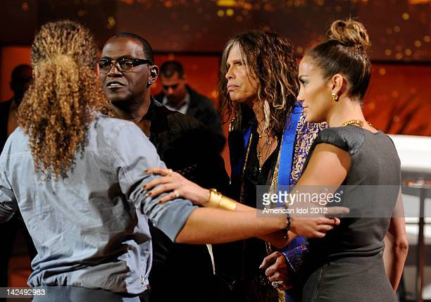 Eliminated contestant DeAndre Brackensick and judges Randy Jackson Steven Tyler and Jennifer Lopez onstage at FOX's 'American Idol' Season 11 Top 8...