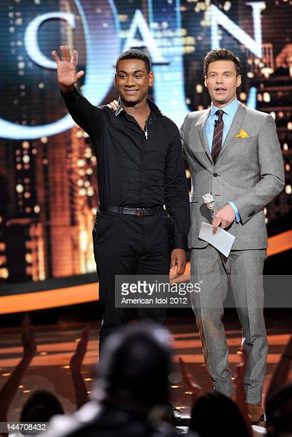 Eliminated contestant Joshua Ledet and host Ryan Seacrest onstage at FOX's American Idol Season 11 Top 3 To 2 Live Elimination Show on May 17, 2012...
