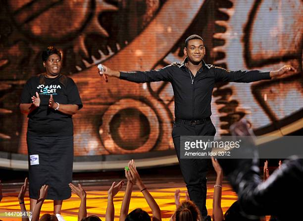 Eliminated contestant Joshua Ledet performing with his mother onstage at FOX's American Idol Season 11 Top 3 To 2 Live Elimination Show on May 17,...