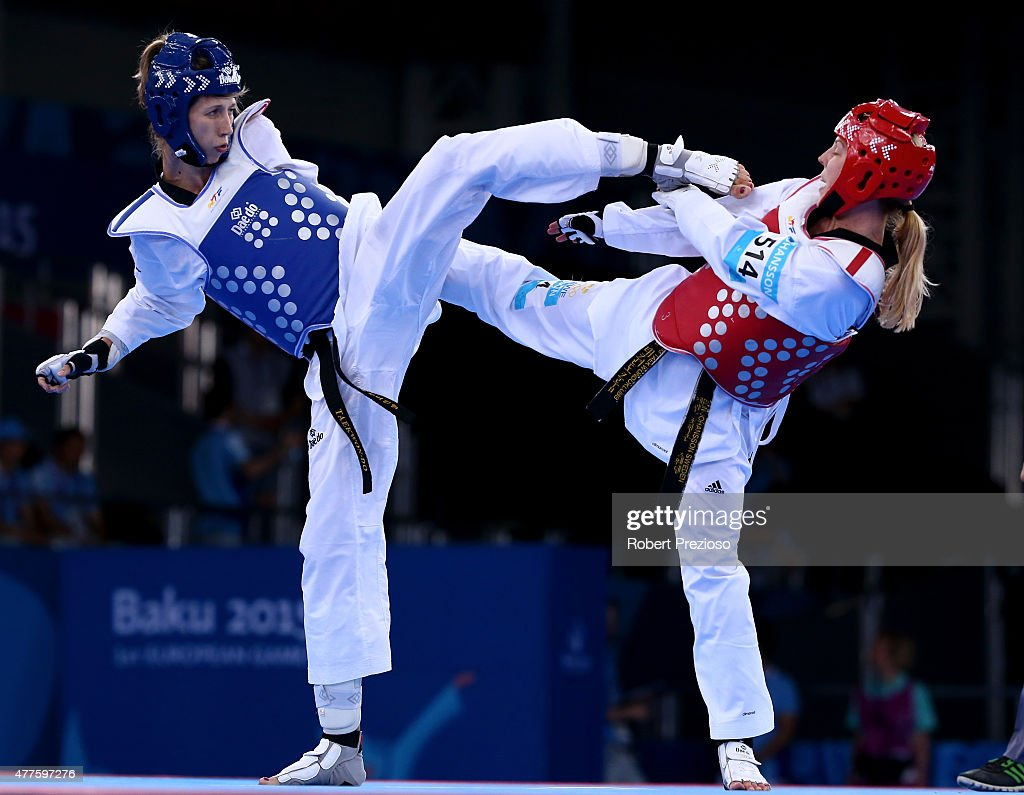 Elin Johansson of Sweden (red) and Tetiana Tetervianykova of Ukraine (blue) compete during the Women's Taekwondo -67kg bronze medal match on day six of the Baku 2015 European Games at the Crystal Hall on June 18, 2015 in Ba ku, Azerbaijan.