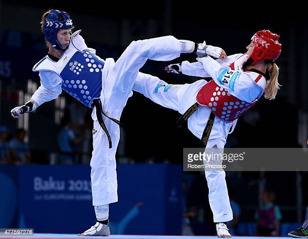 Elin Johansson of Sweden and Tetiana Tetervianykova of Ukraine compete during the Women's Taekwondo 67kg bronze medal match on day six of the Baku...