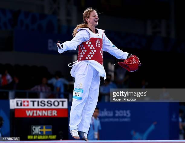 Elin Johansson of Sweden celebrates winning bronze against Tetiana Tetervianykova of Ukraine during the Women's Taekwondo 67kg bronze medal match on...