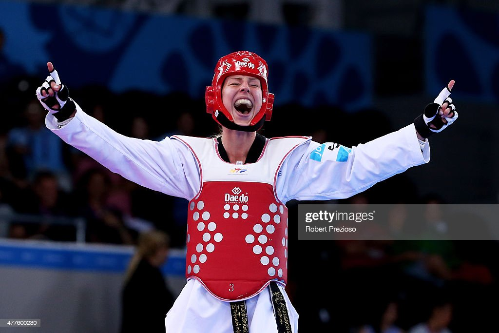 Elin Johansson of Sweden celebrates winning bronze against Tetiana Tetervianykova of Ukraine during the Women's Taekwondo -67kg bronze medal match on day six of the Baku 2015 European Games at the Crystal Hall on June 18, 2015 in Ba ku, Azerbaijan.