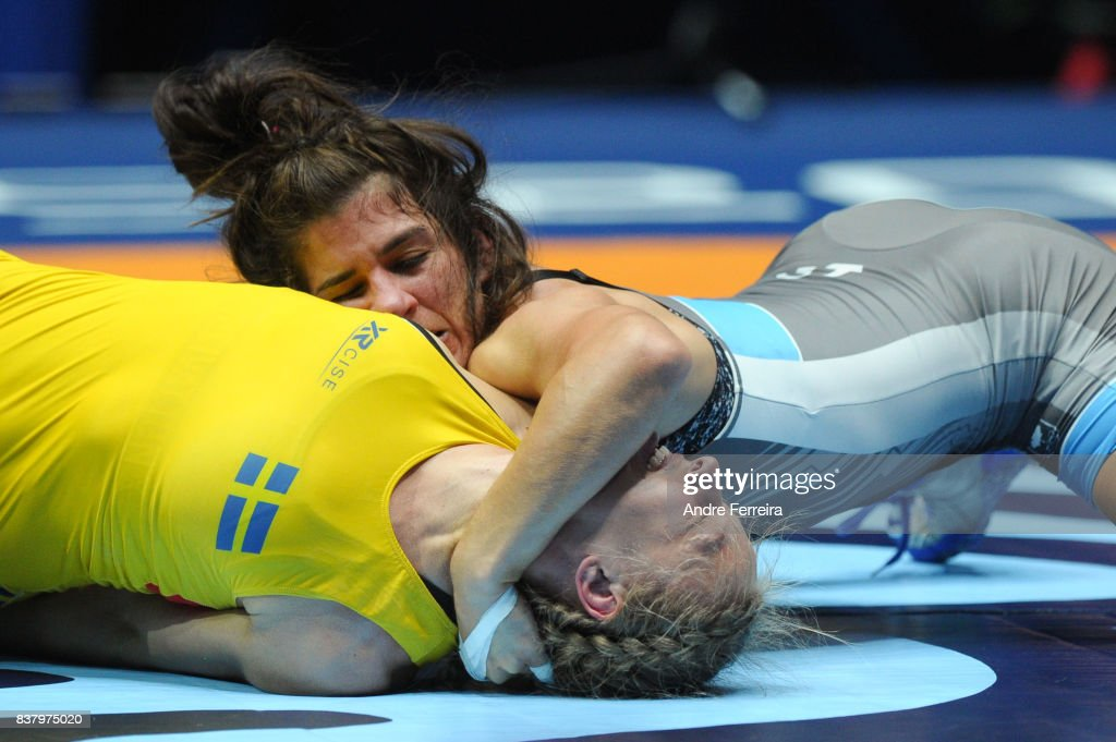 Elin Nilsson of Sweden and Michelle Fazzari of Canada during the female 58 kg wrestling competition of the Paris 2017 Women's World Championships at AccorHotels Arena on August 23, 2017 in Paris, France.