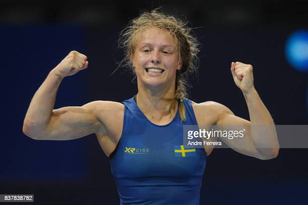 Elin Nilsson of Sweden celebrates during the female 58 kg wrestling competition of the Paris 2017 Women's World Championships at AccorHotels Arena on...
