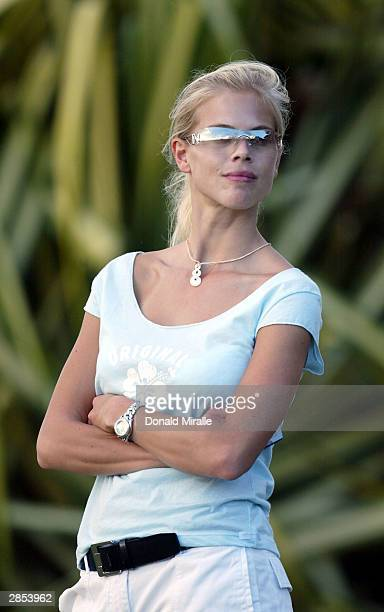 Elin Nordegren fiance of Tiger Woods looks on during the 1st round of the Mercedes Championships on January 8 2004 at the Plantation Course in...