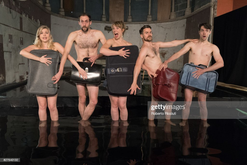 Elin Phillips, Gethin Alderman, Mairi Phillips, Neal McWilliams and Christopher Elson of Volcano Theatre pose naked inside an interior lake during a photocall to promote the show 'Seagulls' at The Leith Volcano during the 70th Edinburgh Fringe Festival on August 8, 2017 in Edinburgh, Scotland.