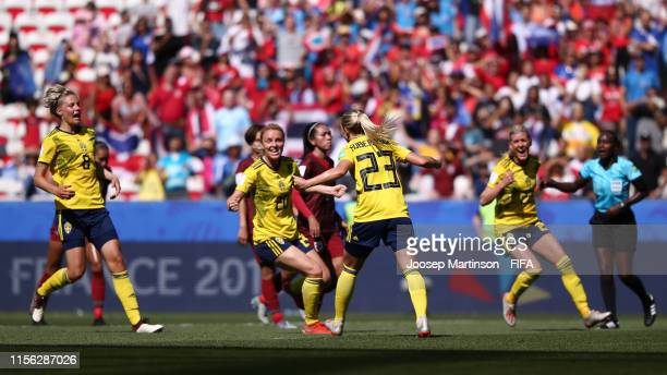 Elin Rubensson of Sweden celebrates with teammates after scoring her team's fifth goal during the 2019 FIFA Women's World Cup France group F match...