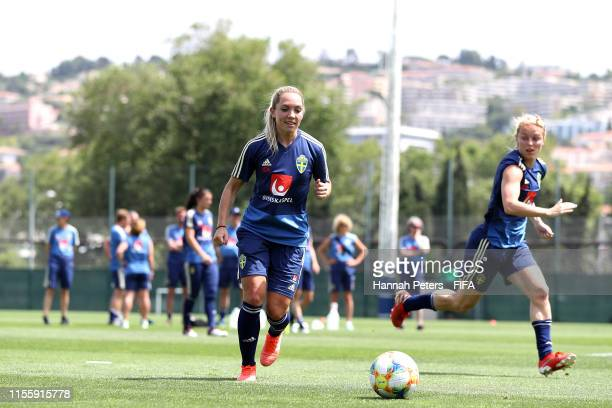 Elin Rubensson of Sweden runs through drills during a training session at Stade CharlesEhrmann on June 14 2019 in Nice France