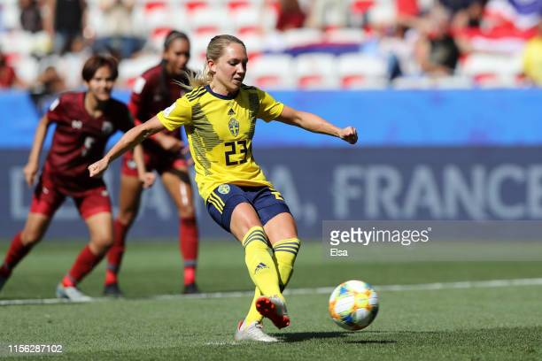 Elin Rubensson of Sweden scores a penalty for her team's fifth goal during the 2019 FIFA Women's World Cup France group F match between Sweden and...