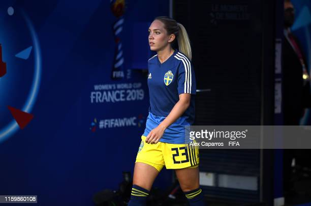 Elin Rubensson of Sweden walks out for the warm up prior to the 2019 FIFA Women's World Cup France Semi Final match between Netherlands and Sweden at...