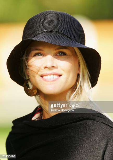 Elin Woods smiles as USA and European team wives prepare to travel to The Curragh racecourse for the Wives Race Day prior to the start of the 2006...