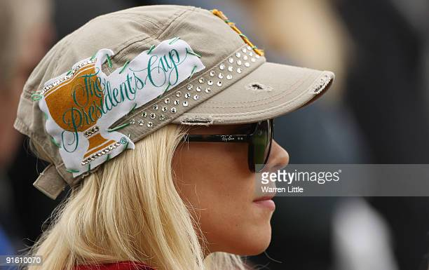Elin Woods watches her husband Tiger Woods of the USA Team during the Day One Foursome Matches of The Presidents Cup at Harding Park Golf Course on...