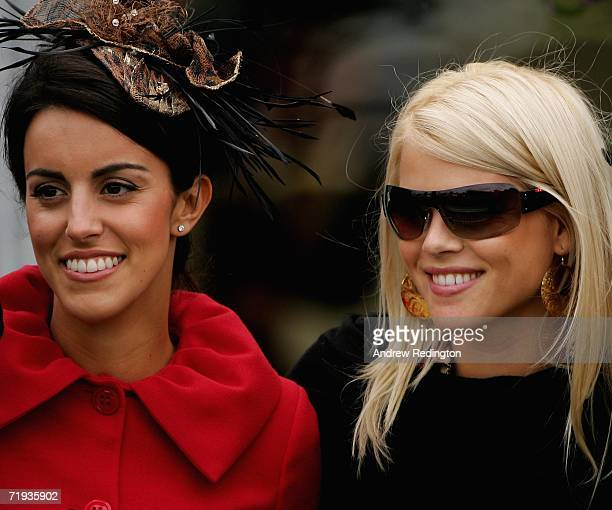 Elin Woods wife of Tiger Woods and Diane Antonopoulos fiancee of Luke Donald pose for a photograph during the Ryder Cup Wives Race Day at The Curragh...
