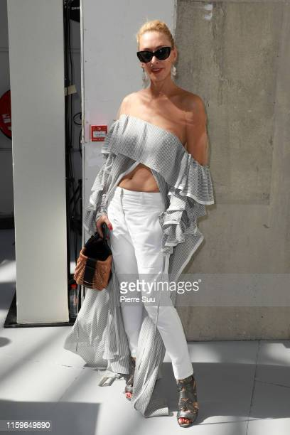 Elina Halimi attends the Alexandre Vauthier Haute Couture Fall/Winter 2019 2020 show as part of Paris Fashion Week on July 02 2019 in Paris France