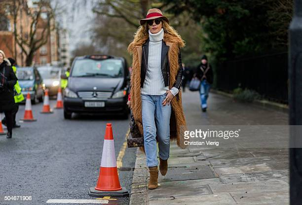 Elina Halimi before the Burberry Prorsum show during London Collections Men AW16 on January 11 2016 in London England