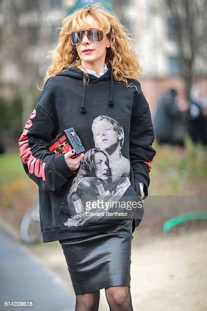 Elina Halimi is seen after the Giambattista Valli show during Paris Fashion Week Womenswear Fall Winter 2016/2017 on March 7 2016 in Paris France