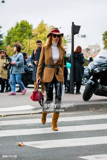 Elina Halimi is seen before the Celine show during Paris Fashion Week Womenswear SS18 on October 1 2017 in Paris France