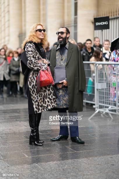 Elina Halimi is seen during Paris Fashion Week Menswear Fall Winter 20182019 on January 19 2018 in Paris France