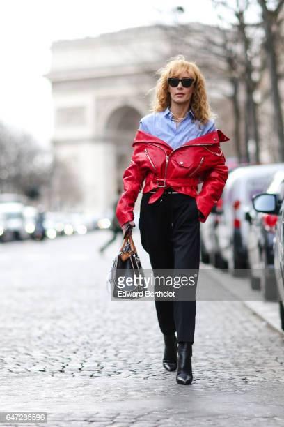 Elina Halimi is seen outside the Balmain show during Paris Fashion Week Womenswear Fall/Winter 2017/2018 on March 2 2017 in Paris France