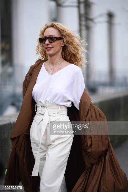 Elina Halimi is seen outside the Elie Saab show during Paris Fashion week Womenswear Fall/Winter 2020/2021 Day Six on February 29, 2020 in Paris,...