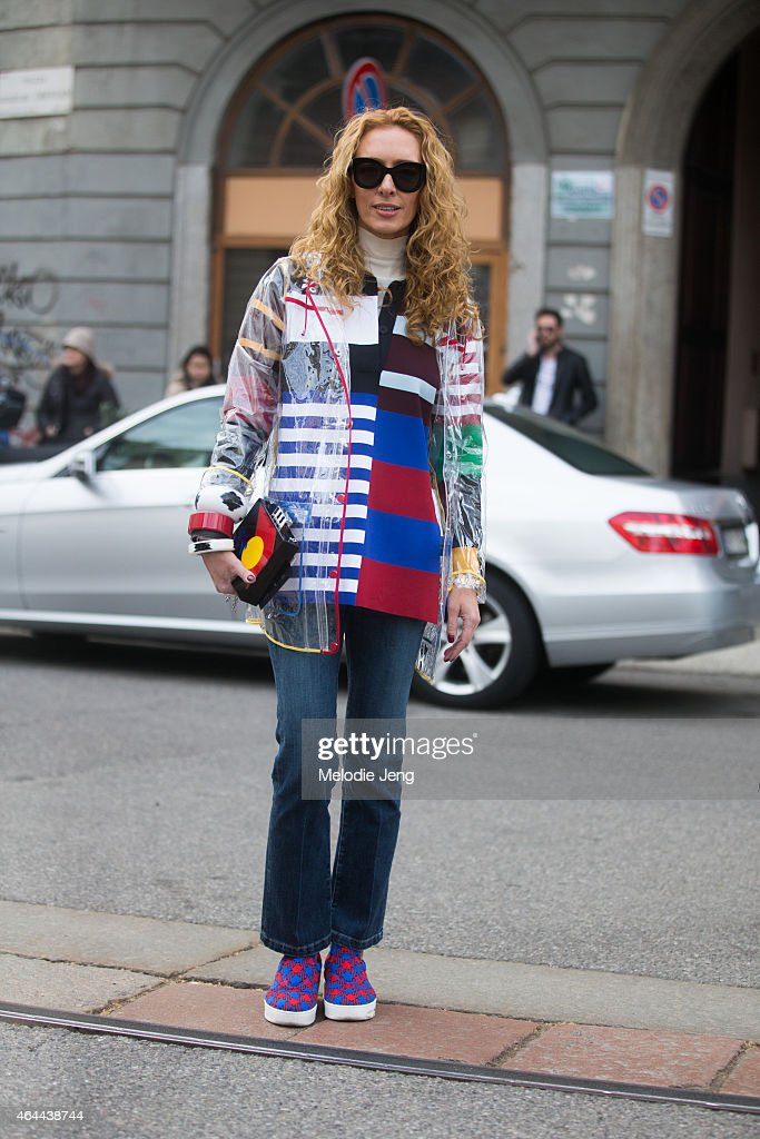 Elina Halimi of Kabuki Paris wears a Topshop jacket, Stella McCartney top, Celine shoes and a Le Petit Joueur bag on February 25, 2015 in Milan, Italy.