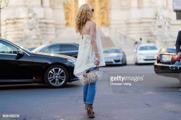 Elina Halimi outside Alexandre Vauthier during Paris Fashion Week Haute Couture Fall/Winter 20172018 Day Three on July 4 2017 in Paris France