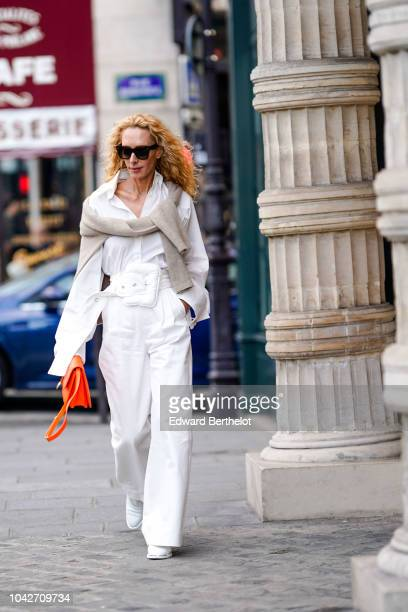 Elina Halimi outside Andrew GN during Paris Fashion Week Womenswear Spring/Summer 2019 on September 28 2018 in Paris France