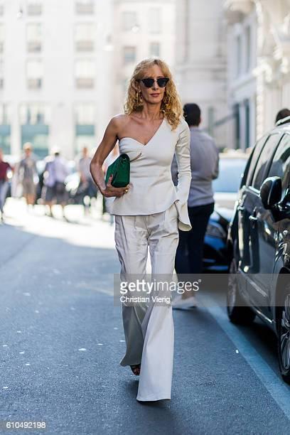 Elina Halimi outside Ferragamo during Milan Fashion Week Spring/Summer 2017 on September 25 2016 in Milan Italy