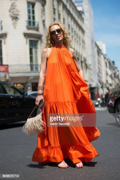 Elina Halimi poses before the Elie Saab show at the Pavillion Cambon during Paris Fashion Week Haute Couture FW 17/18 on July 5 2017 in Paris France