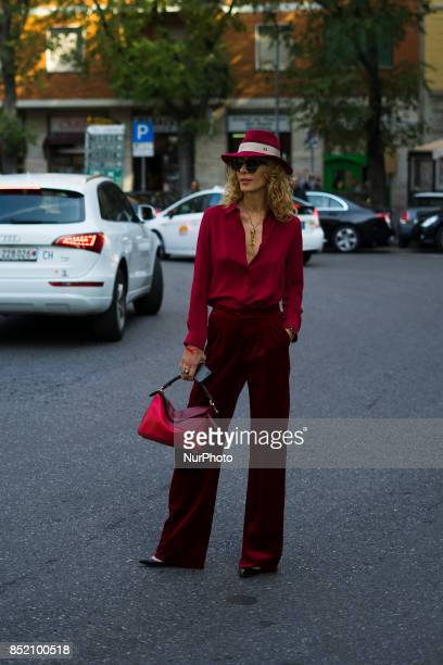 Elina Halimi seen before the Sport Max show during Milan Fashion Week Spring/Summer 2018 on September 22 2017 in Milan Italy