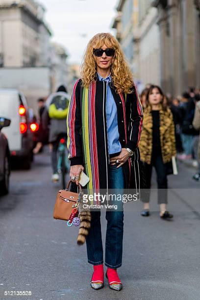 Elina Halimi seen outside Alberta Ferretti during Milan Fashion Week Fall/Winter 2016/17 on February 24 2016 in Milan Italy
